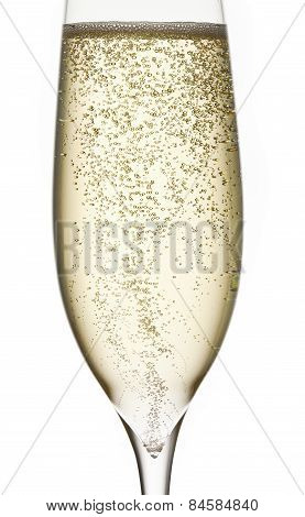 champagne in glass with bubbles fresh