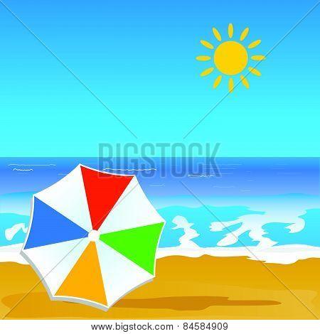 Paradise Beach And Coast Color Vector