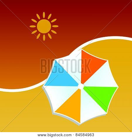 Summer With Umbrella Color Vector