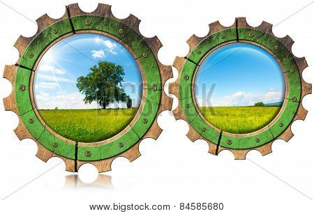Green Economy - Icon With Gears