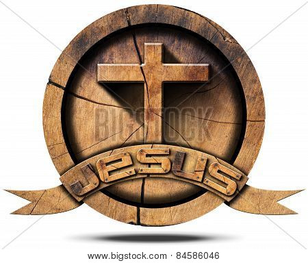 Jesus - Wooden Icon With Cross