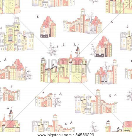 Neutral medieval castles vector seamless print