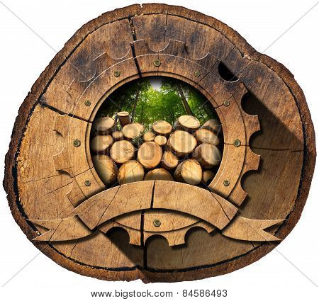 Lumber Industry - Wooden Icon On Trunk