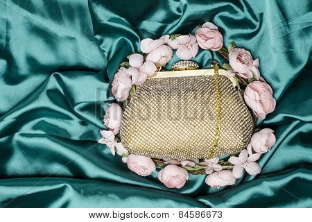 Gold Clutch In Flowers On Silk