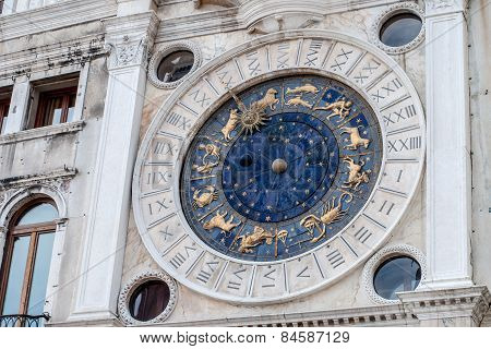 Astrological Clock Tower Details. St. Mark's Square, Venice, Italy.