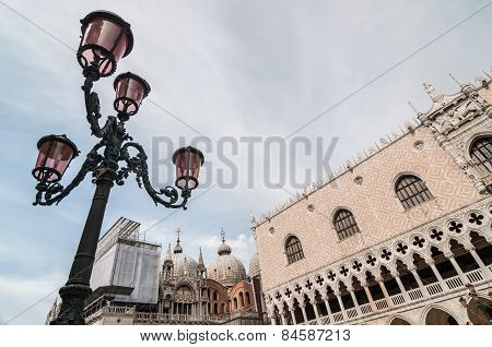 Beautiful Venetian Ornate Lampposts With Pink Murano Glass. Venice.