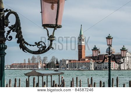 Church Of San Giorgio Maggiore And Ornate Lampposts