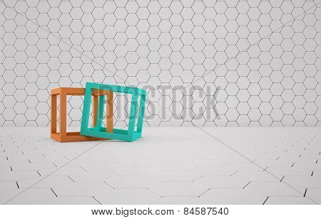 Cubes abstract composition on white mesh grid