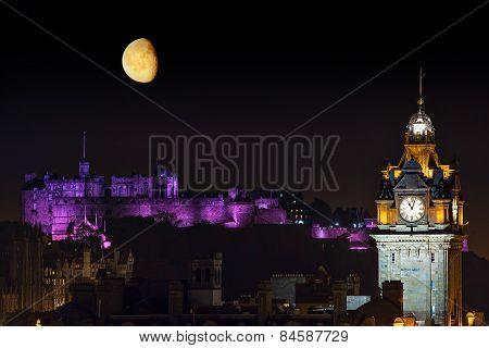 Edinburgh Night Cityscape With The Moon