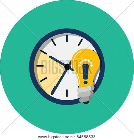 Clock, Light Bulb with Exclamation Mark