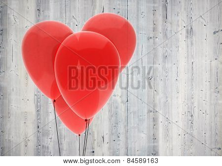 Red Balloon Heart On Wood Background