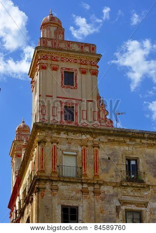 Detail Home of the five towers Spain square Cadiz