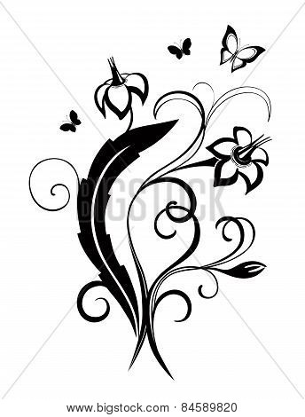 Decorative Composition Of Curls Flowers And Ornamented Abstract Silhouette Butterfies. Maybe For Tat