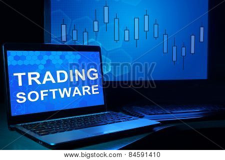 Computer with words Trading Software.