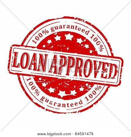 Damaged Round Red Stamp - Loan Approved - Guaranteed