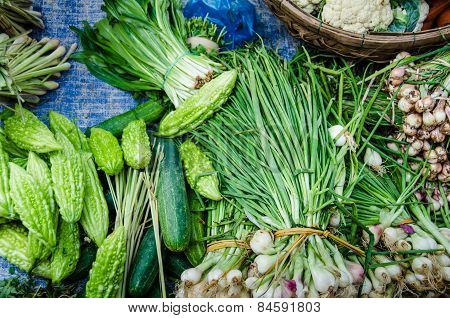 Fresh green vegetables Fresh fruits and vegetables for sale at an outdoor marke
