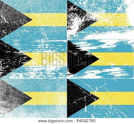 Flag Of Bahamas With Old Texture. Vector