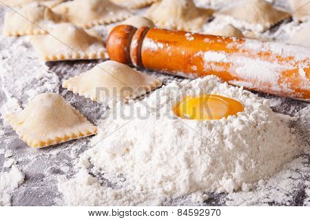 Italian Ravioli With Raw Ingredients Close-up. Horizontal