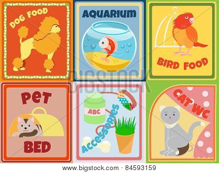 Set Of Animals And Accessories For Pet Shop