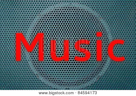 Red Music text in front of a speaker