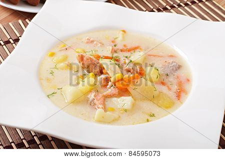 Finnish creamy soup with salmon