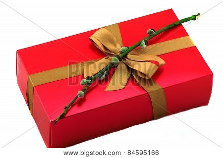 red gift box with bow and willow