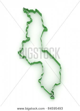 Map of Malawi. 3d
