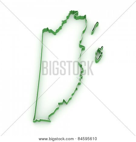 Map of Belize. 3d