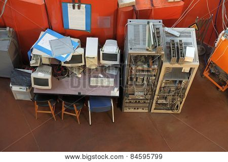 Old computers in a nuclear research facility