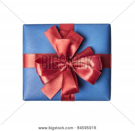Blue gift box with red ribbon bow