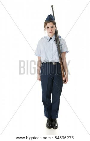 Face Forward view of a Jr. ROTC female with her rifle.  On a white background.