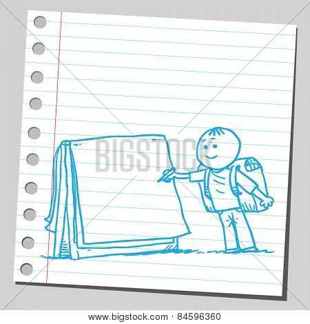 Schoolkid writing on flip chart