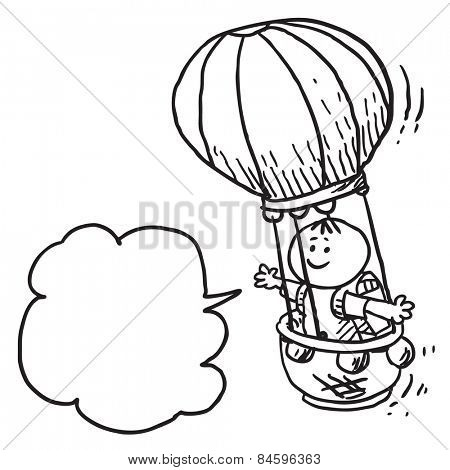 Schoolkid in air balloon speaking