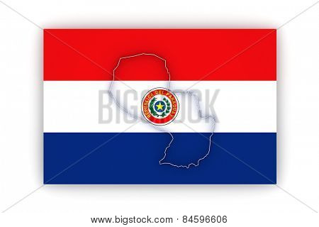 Map of Paraguay. 3d