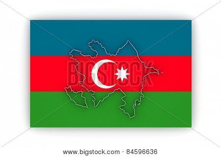 Map of Azerbaijan. 3d