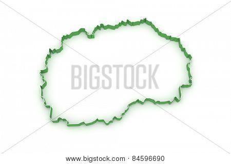 Map of Macedonia. 3d