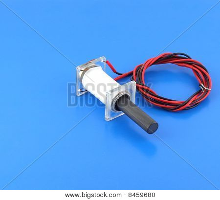 Ultrasonic Transducer On The Blue Background