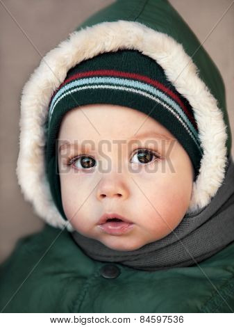 Winter Portrait Of A Baby Close-up