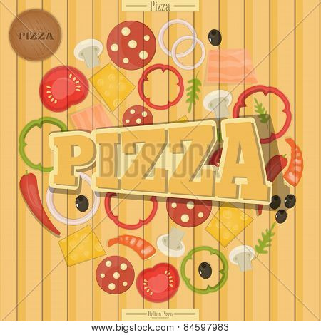 Pizza And The Ingredients For Pizza On The Wood Background