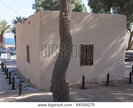 Historical site Umm Rashrash in Eilat, Israel. Monument of famous Ink Flag erection