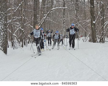 Skiers At The Finish