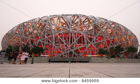 A View of the Olympic National Stadium Beijing China.