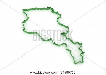 Map of Armenia. 3d
