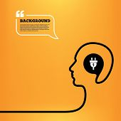 picture of lightning  - Head think with speech bubble - JPG