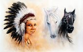 stock photo of feathers  - beautiful painting of a young indian woman wearing a gorgeous feather headdress with an image of of black and white horse - JPG