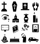 picture of funeral  - Funeral death related vector icons set in black - JPG