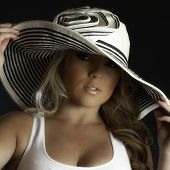 picture of panama hat  - A blonde Latina girl in a large white hat and a white tank top - JPG