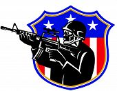 picture of rifle  - vector illustration of an american soldier swat policeman with m4 carbine rifle set inside shield with stars and stripes - JPG
