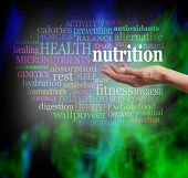 Постер, плакат: Nutrition and Health Word Cloud