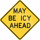 picture of icy road  - US road warning sign - JPG